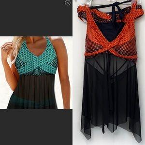 Rotita Black&Orange Tankini Swimsuit  14 N…